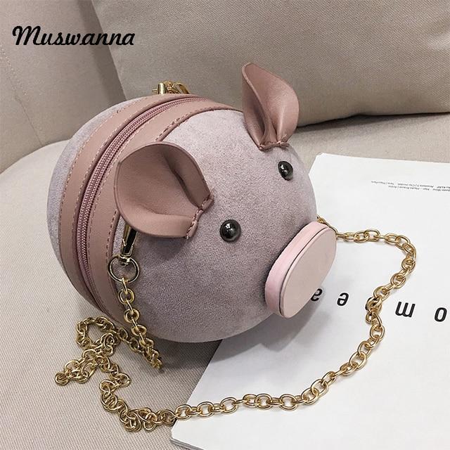 Корейский модные замшевые Для женщин мешок свинья маленькая круглая сумка цепи женский плечо сумка наручные сумка вечерние клатч портмоне 2019