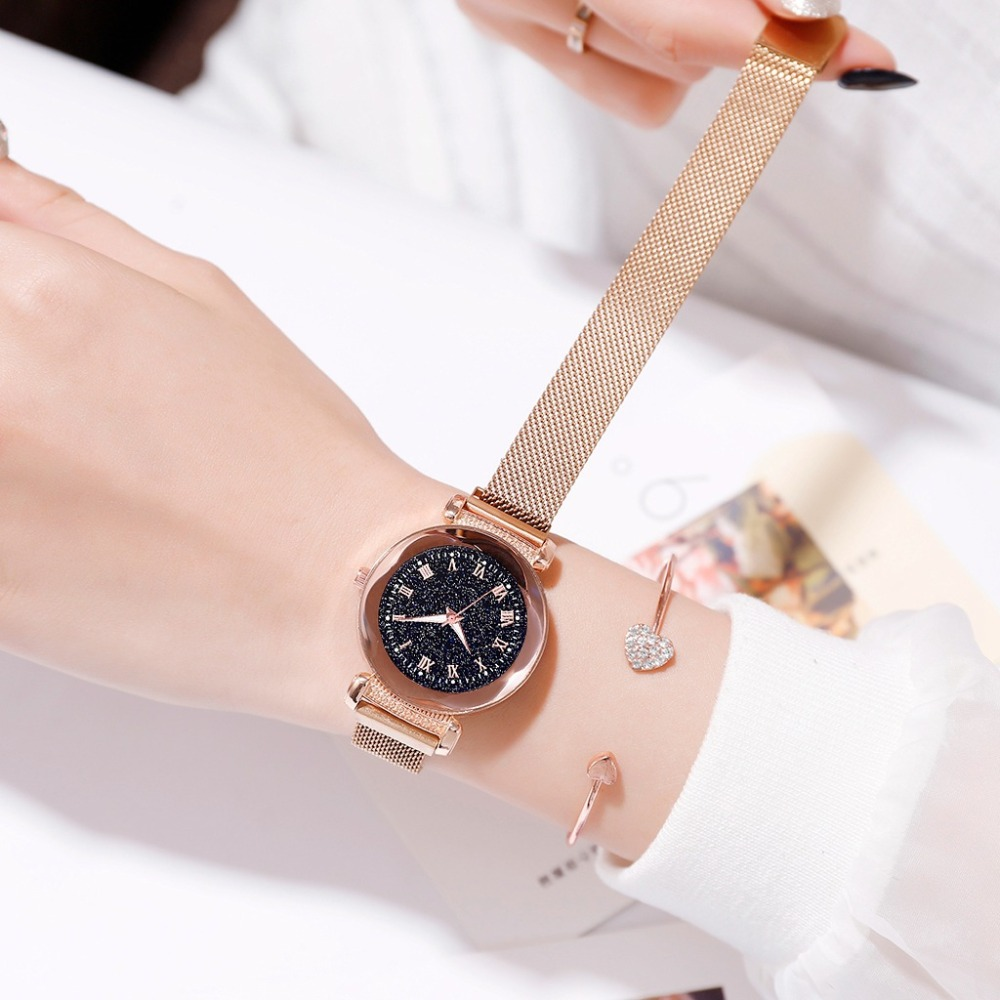 Women 39 s Fashion Luxury Stainless Steel Magnetic Buckle Strap Watches Geometric Surface Luminous Roma Dial Female Quartz Watch in Women 39 s Watches from Watches