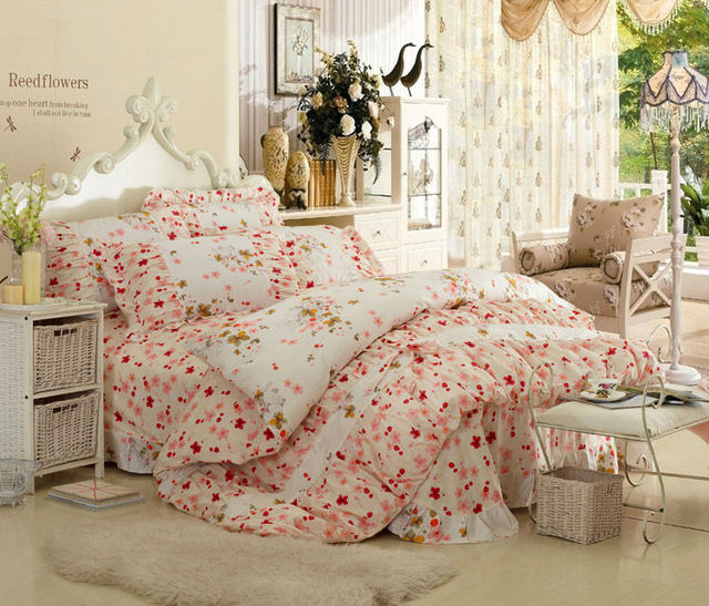 100 Cotton Korean Country Style 4pcs Bedding Sets Bedclothes Bed Linen Nice Design Confortable
