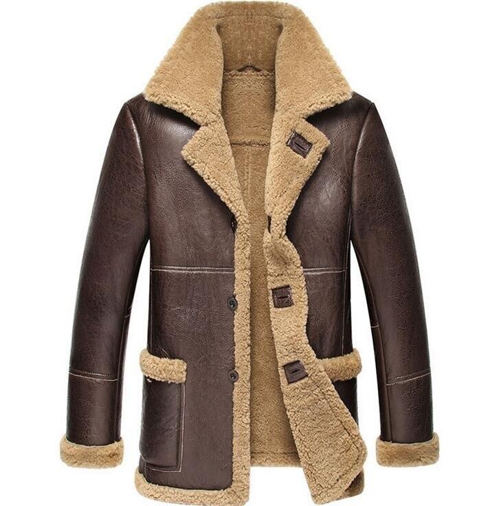 2018 Nouveaux Hommes D'hiver En Cuir de Mouton Veste Pense Chaud Fourrure Une Moto homme En Cuir Véritable Manteau veste en cuir Véritable hommes