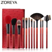 ZOREYA Brand 12pcs Super Quality Goat Hair Makeup Brush Set Soft Synthetic Fiber Cosmetic Kit Lip