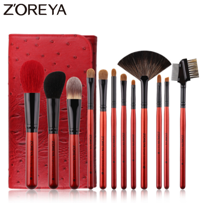 ZOREYA Brand 12pcs Super Quality Goat Hair Makeup Brush Set Soft Synthetic Fiber Cosmetic Kit Lip Concealer Blending Brushes saiantth makeup tool set kit combination 15 color concealer palette toothbrush makeup brush water drops sponge puff cosmetic
