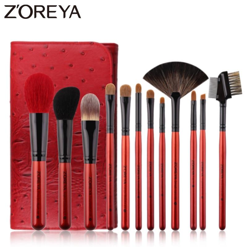 Zoreya Brand 12pcs Super Quality Goat Hair Makeup Brush Set Soft Synthetic Fiber Cosmetic Kit Lip Concealer Blending Brushes