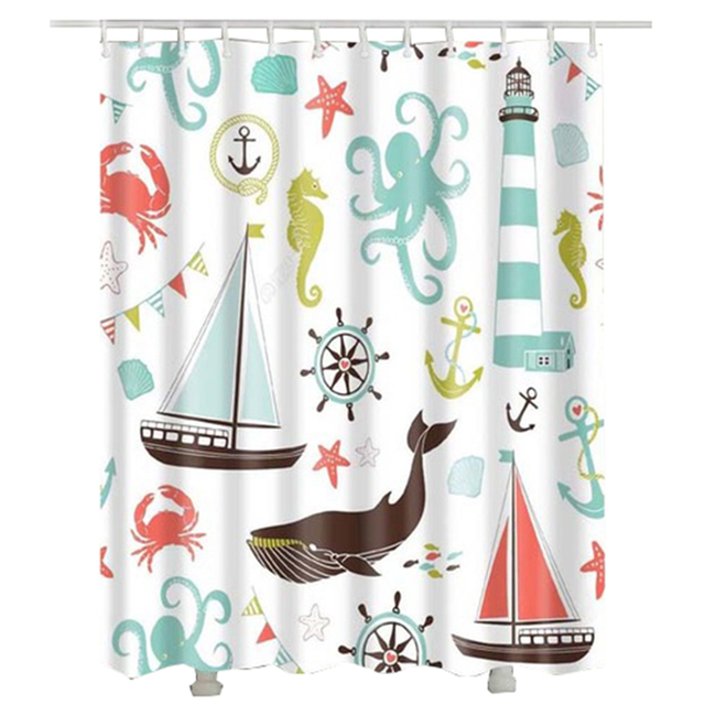 Shark Octopus Crab Starfish Bathroom Shower Curtain 2017 Popular Anchor  Rudder Sailing Shower Curtain