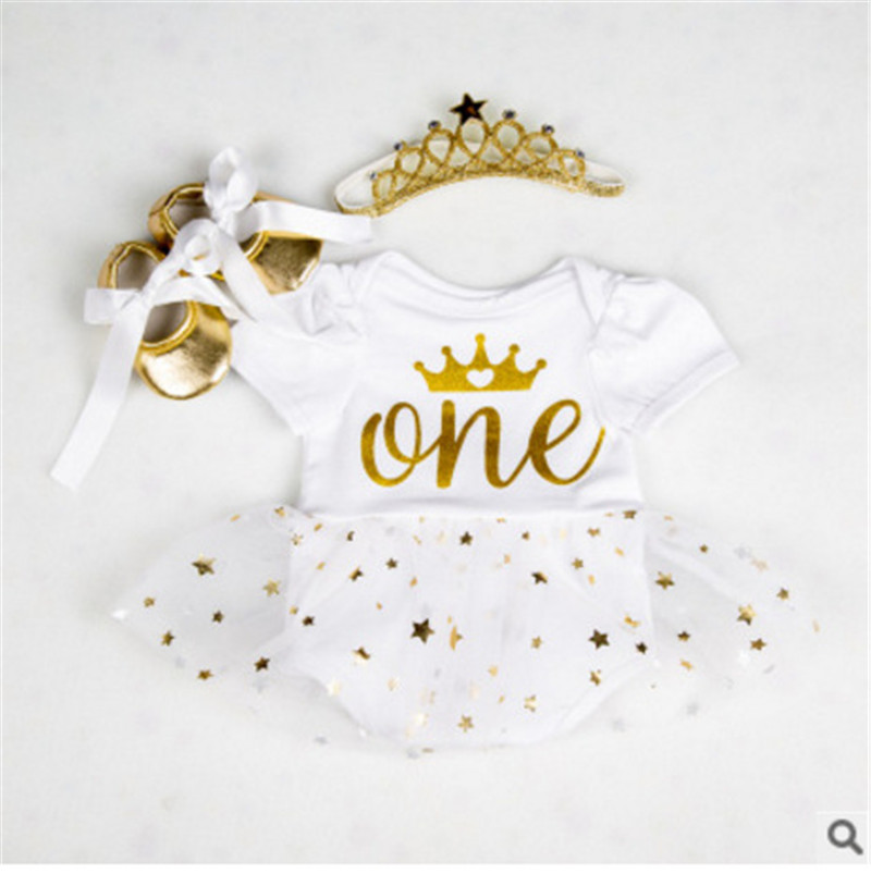 Baby Girl First Birthday Clothing 3PCS Sets Crown One Year Old Stamping Stars Romper Dress Headband Clothes Outfit Toddler