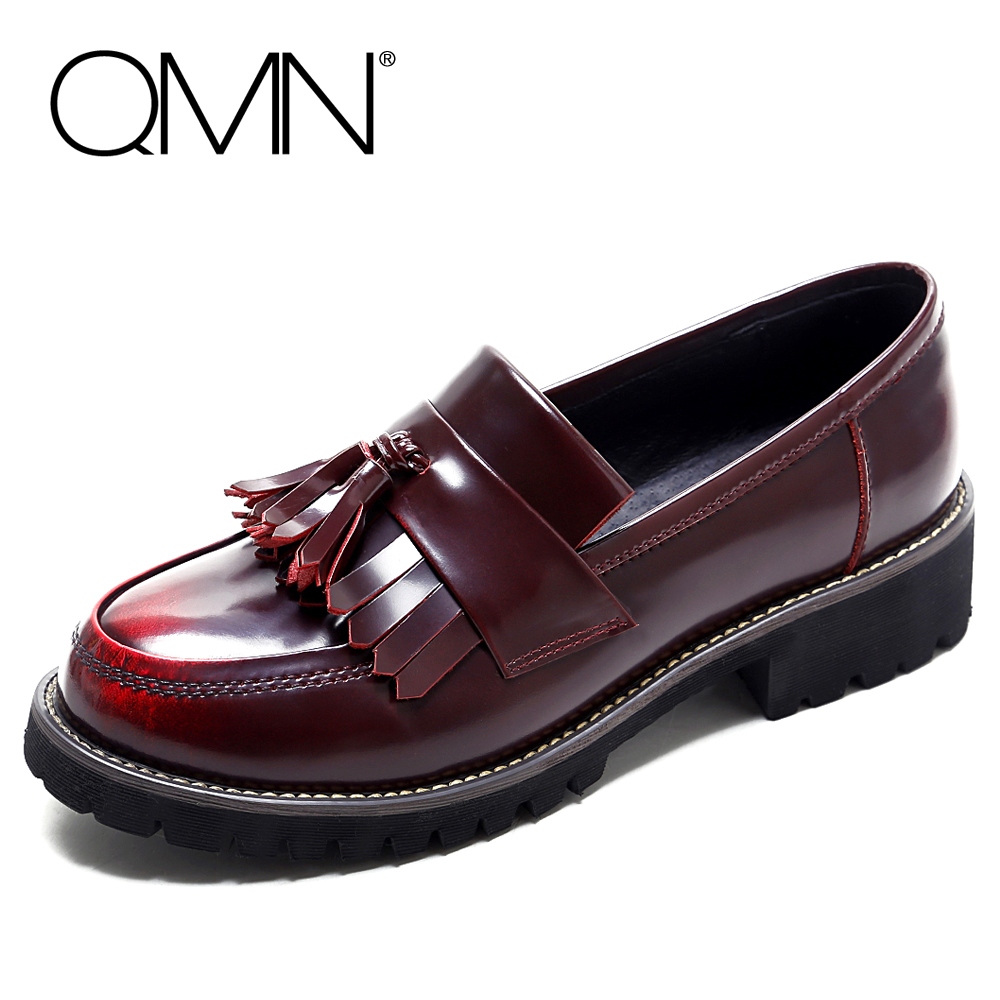ФОТО QMN women fringed tassled brushed leather Women Round Toe Slip On Casual Shoes Woman Glossed Real Leather Flats