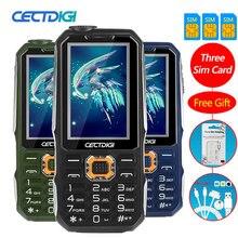 Drei SIM karte 2,8 zoll Stoßfest handy 3 sim karte 3 standby handy Cectdigi T19 Power Bank GSM Taschenlampe russische Tastatur