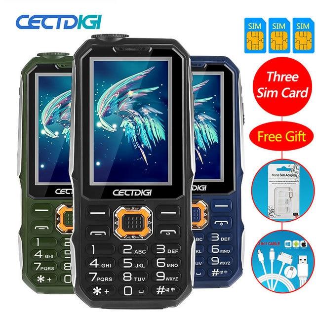 Tre SIM card da 2.8 pollici del telefono Shockproof 3 SIM card 3 standby del telefono mobile Cectdigi T19 Accumulatori e caricabatterie di riserva GSM Torcia Russo tastiera