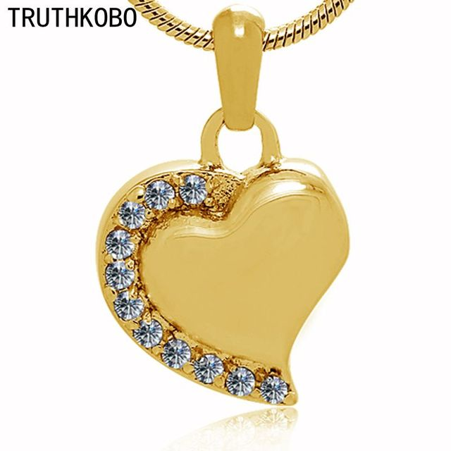 Latest Funnel Product Heart Shape With Crystal Gold Color Cremation Jewelry Memorial Ashes Urns Pendants