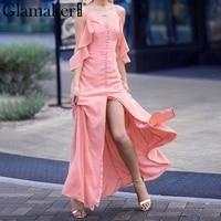 Glamaker Buttons Ruffle Chiffon Maxi Dress Women Halter Party Dress Vestidos High Split Casual Summer Dress