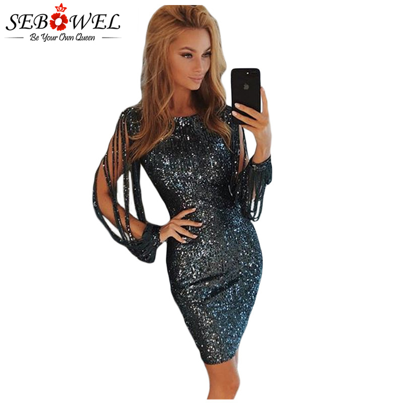 SEBOWEL Sexy Sequin Dress Women Bodycon Silver Glitter Party Dress Long  Sleeve Sequin Club Dress Female Gold Shine Evening Gown – eShopping 4 You  All 6a5fef5b5f80