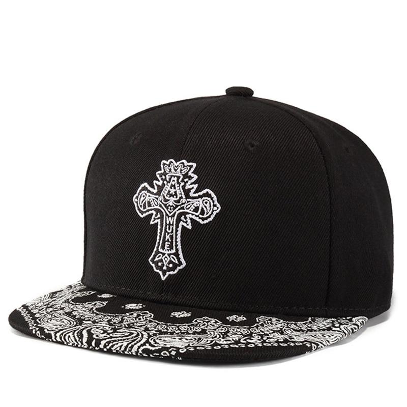 Straightforward New Unisex Baseball Cap Men Women Hat Cross Embroidery Printing Hip Hop Hat Black Snapback Cap Fashion Street Cap For Boy