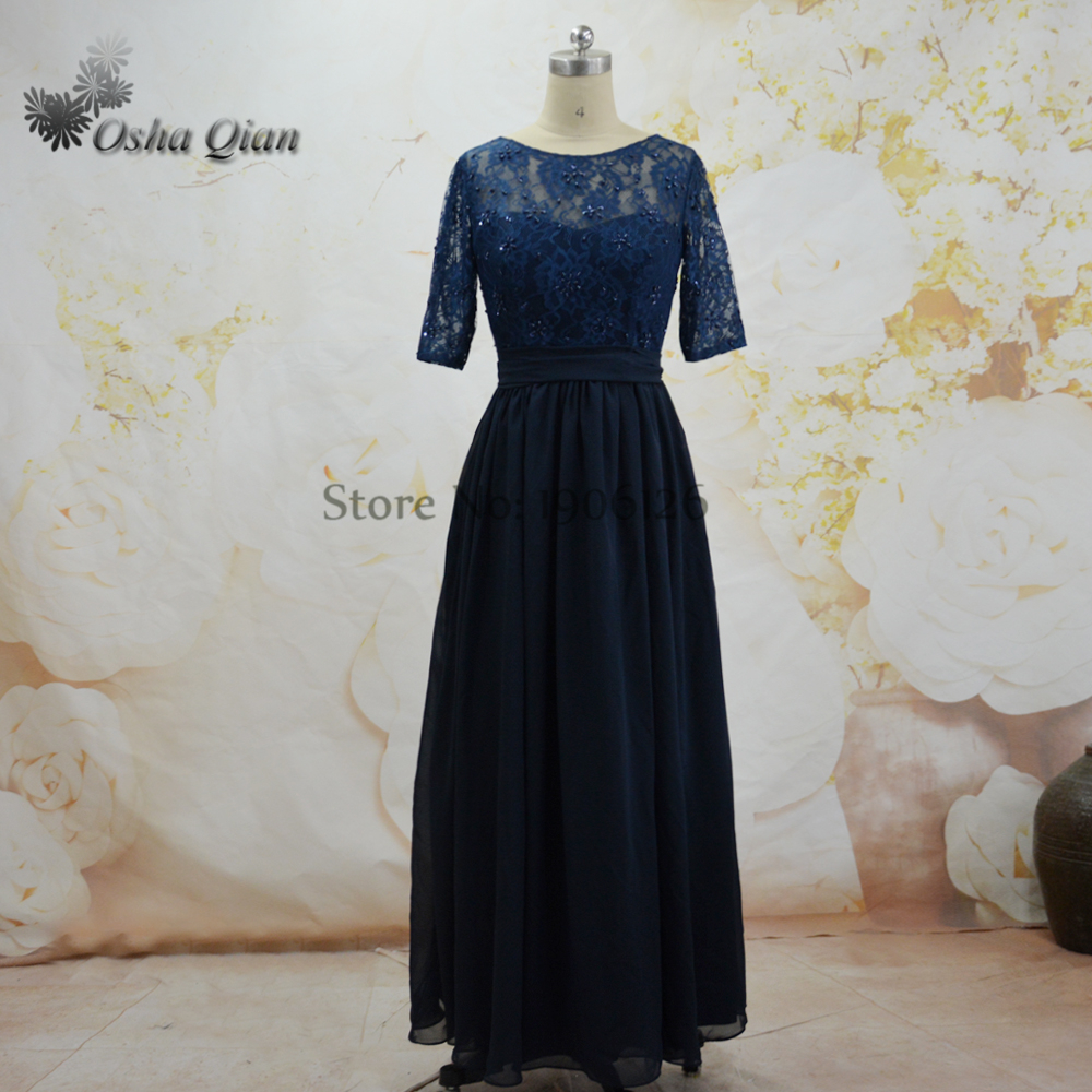 Aliexpress buy custom size navy blue bridesmaid dresses aliexpress buy custom size navy blue bridesmaid dresses beaded chiffon sash half sleeves zipper scoop long cheap party dress vestido madrinha from ombrellifo Choice Image