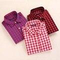 Nova marca da Manta Camisas Das Mulheres Blusas de Manga Longa Das Mulheres Da Forma Camisa de Algodão xadrez Gola Virada Para Baixo Senhoras Blusa Mulheres Tops 2016