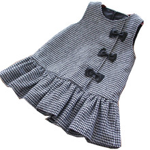 girl christmas dress princess plaid sleeveless bow Winter Kids Dresses For Girls Clothes Baby girl clothes Party Dress Holiday