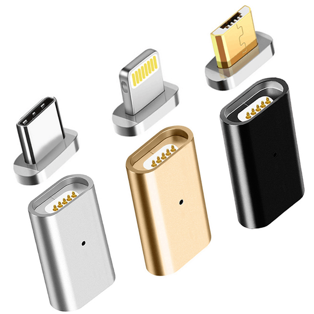 For Lightning To 3.5mm Magnetic USB Micro Female To Type C Micro Male Connector Data Converter USB-C Android Phone Adapter