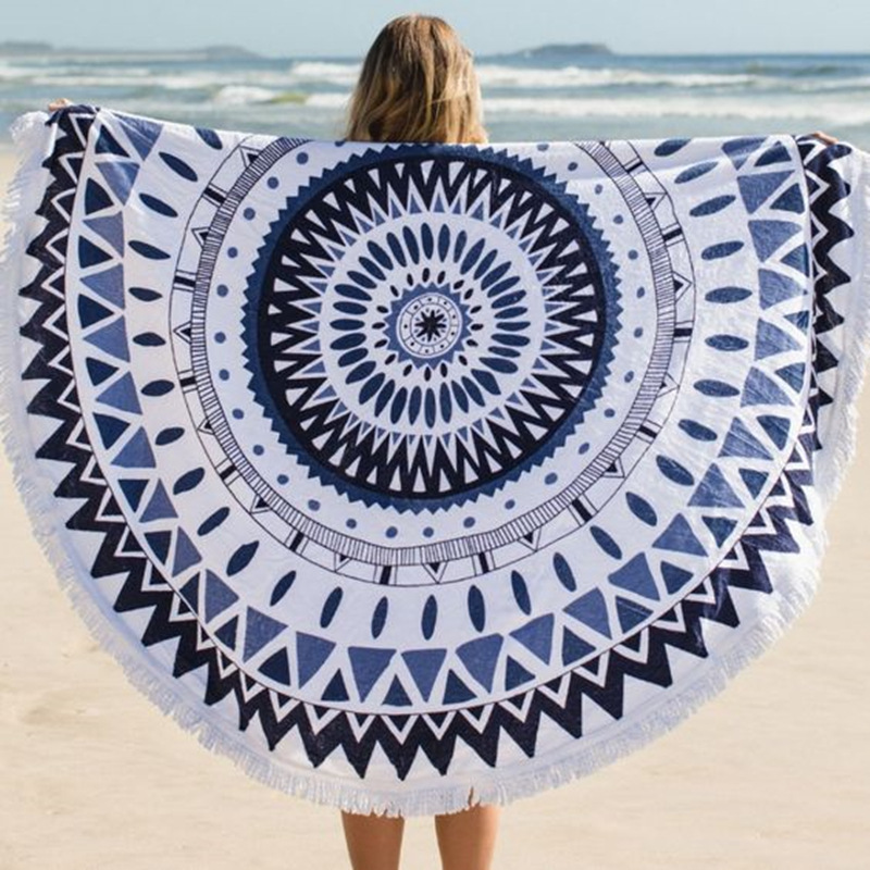 Europe and the United States sell hot Round cotton velvet circular 2016 beach towel Bohemia tassel printing yoga mat