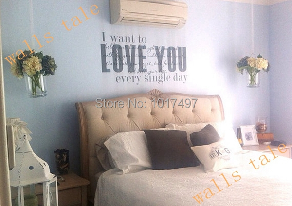 US $23.48 6% OFF|Romantic master bedroom Love vinyl wall decal stickers ,  love quote master bedroom wall art decor stickers ,L2074-in Wall Stickers  ...