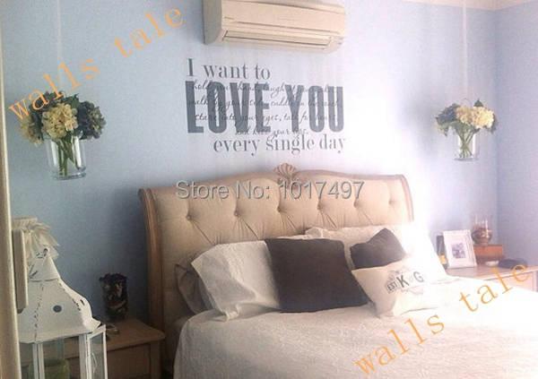 US $23.48 6% OFF Romantic master bedroom Love vinyl wall decal stickers ,  love quote master bedroom wall art decor stickers ,L2074-in Wall Stickers  ...