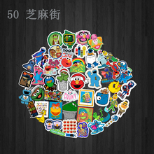 50pcs Sesame Street Sticker Suitcase Waterproof Child toy Cool Laptop Luggage Fridge Phone Graffiti Notebook DIY Stickers