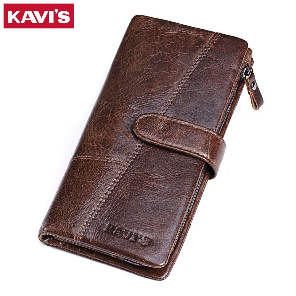 KAVIS marque de luxe 100% véritable cuir de vachette Portomonee Vintage Walet mâle portefeuille hommes longue pochette avec porte-monnaie poche Rfid