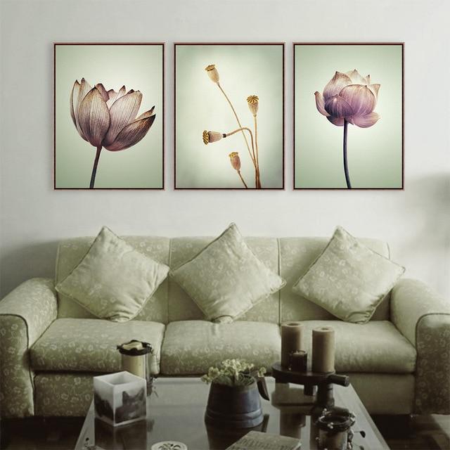 Vintage Art Purple Lotus Poster Canvas Painting Nature Landscape Print Wall Picture Home Decoration Custom