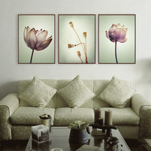 Vintage Art Purple Lotus Poster Canvas Painting Nature Landscape Print Wall Picture Home Decoration Custom