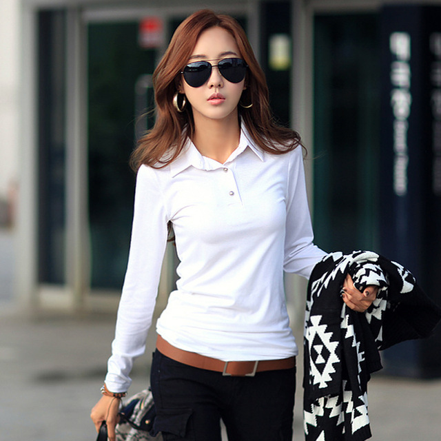 acc028315874a Spring Autumn Casual Polo Women 2018 New Long Sleeve Slim Polos Mujer Black  White Red Tops