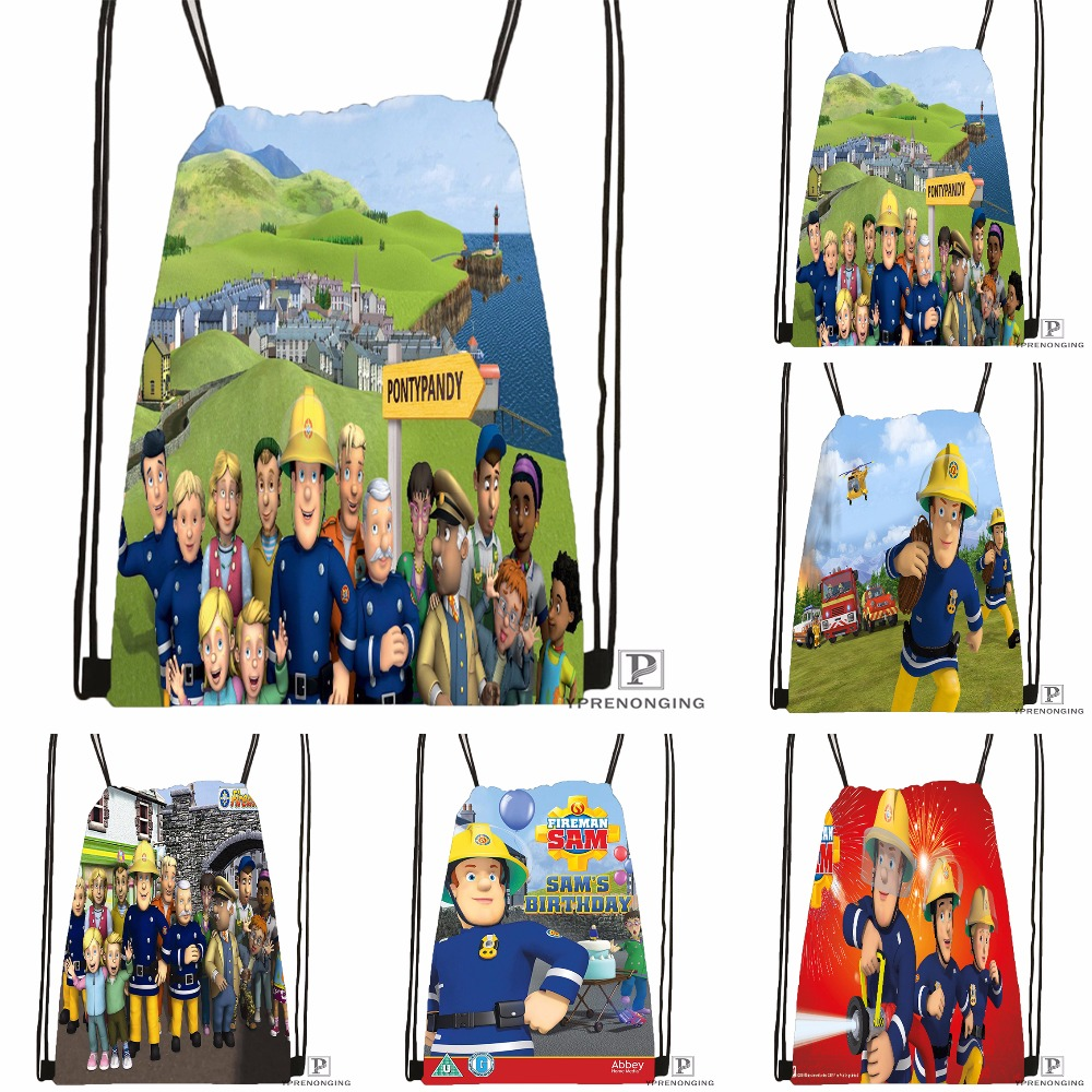 Custom Fireman Sam Drawstring Backpack Bag For Man Woman Cute Daypack Kids Satchel (Black Back) 31x40cm#180531-01-17