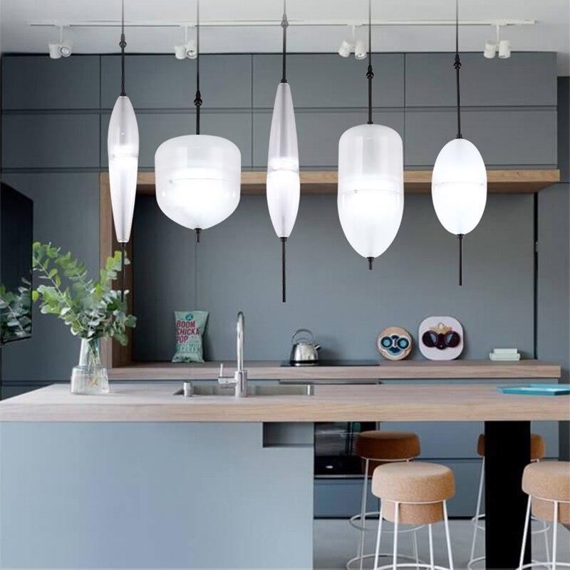 Image 5 - Nordic modern teardrop shaped blue glass pendant light LED art deco simple white hanging lamp for living room restaurant kitchen-in Pendant Lights from Lights & Lighting