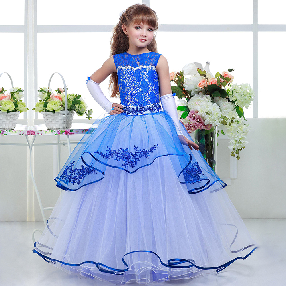 Lace Flower Girl Dresses Blue Sleeveless O-Neck Ruffles Lace Up Ball Gown Hot Sale Vestidos De Comunion First Communion Gowns цены