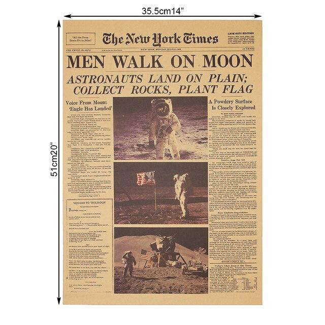 DLKKLB Die Apollo 11 Mond Landung New York Times Vintage Poster Kraft Papier Retro Kinder Zimmer Dekoration 51X35,5 cm Wand Aufkleber