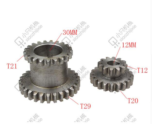 free shipping 2 pcs / set Teeth T29xT21 T20xT12 Dual Dears Metal Lathe Gears For Sale