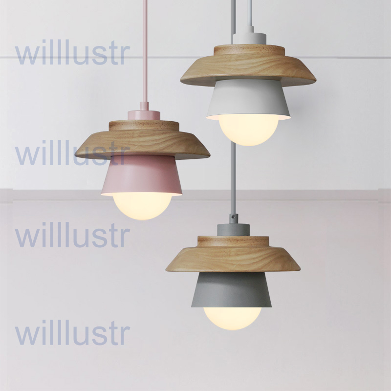 willlustr pendant light art deco natural nordic hanging lights wood metal macarons pink green suspension lamp modern lighting цена
