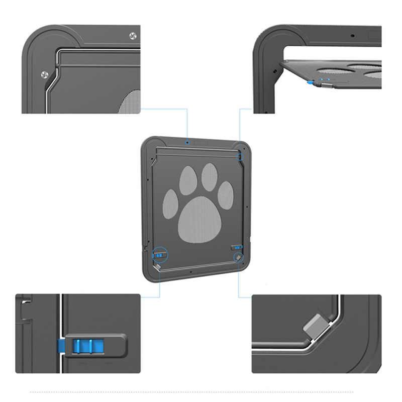 4 דרך נעילת חיות מחמד חתול גור כלב שערי נעילה הניתנת לנעילה בטוחה כנף דלת חכם מתגי לשמור את בית דלת ציוד לחיות מחמד