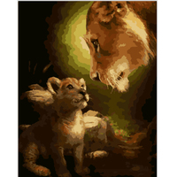 Frameless Pictures Painting By Numbers Home Decor DIY Canvas Oil Painting Of Lion Motherhood For Living