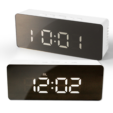 цена на Digital LED Mirror Alarm Clock DC5V AAA*3 Snooze Table Clock Wake Up Light Electronic Temperature Display Home Decoration Clock