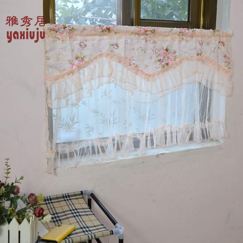 Great Free Shipping Pink Flowers Double Lace Coffee Curtain Short Curtain Kitchen  Curtains For Living Room Bedroom 50*90CM