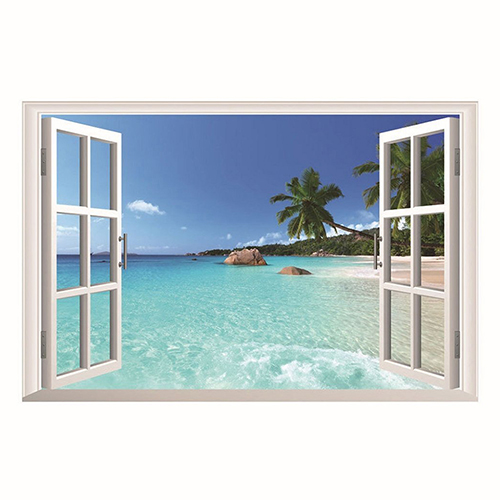 3d Beach Sea Window Ocean View Scenery Wall Sticker Home Decor Diy Room Decal Store 48