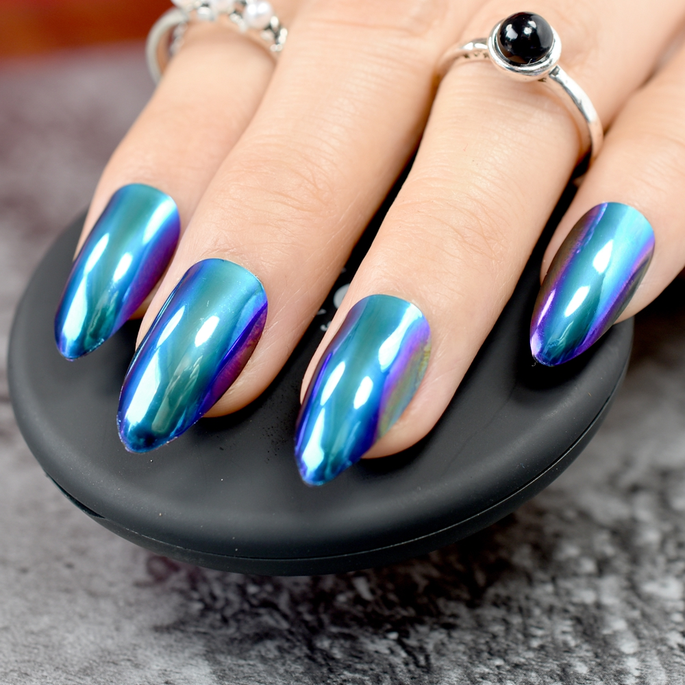Chameleon Mirror Acrylic False Nail Fashion Fake Nails Purple Blue ...