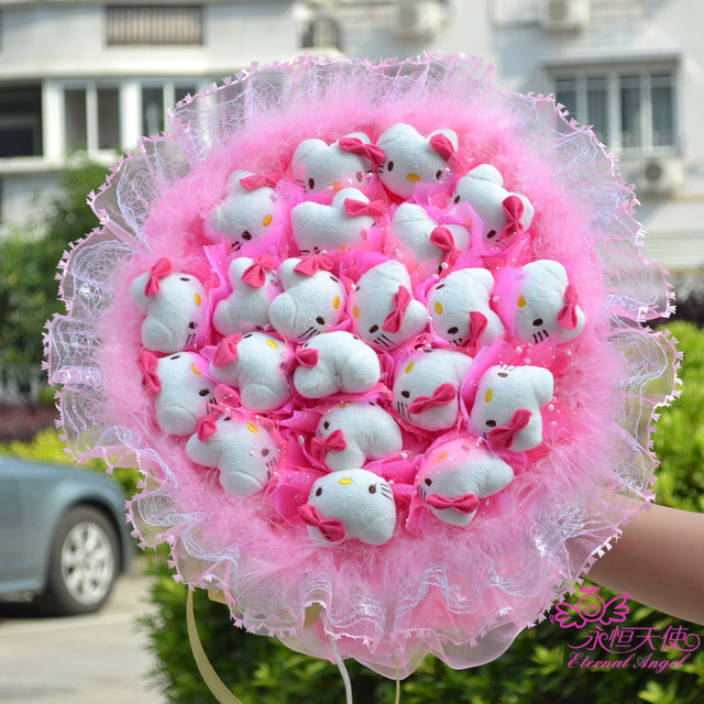 2017 New Plush Toy Cute Kitty Cat Cartoon Artificial Flowers Lace ...