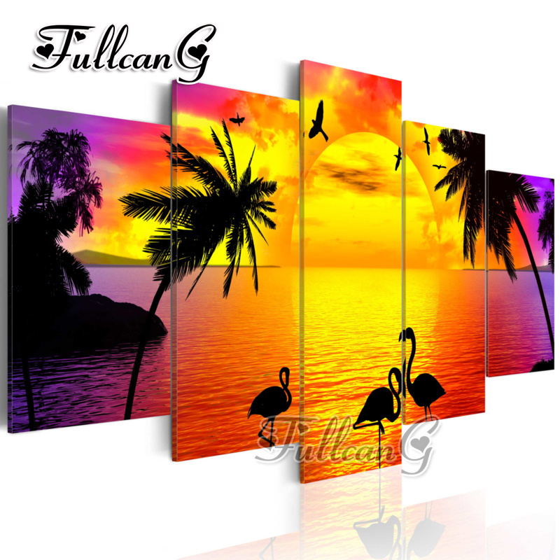 FULLCANG diy 5 pieces diamond painting sunset seascape flamingo full square round drill 5d rhinestone embroidery