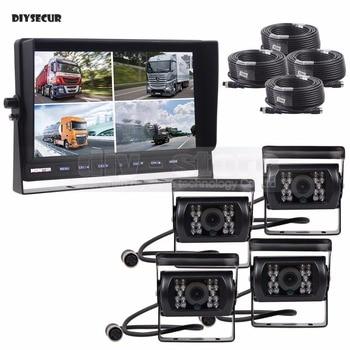 DIYSECUR 10Inch Split QUAD Car Monitor + 4 x CCD IR Night Vision Rear View Camera Waterproof for Car Truck Bus Reversing Camera
