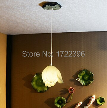 Country Style,Lotus Flower,Resin,1 Light,  For dining room living room,E26/E27,Bulb Included,AC chinese style jingdezhen ceramic multicolour flowers 1 light warm light for dining room living room study e27 bulb included