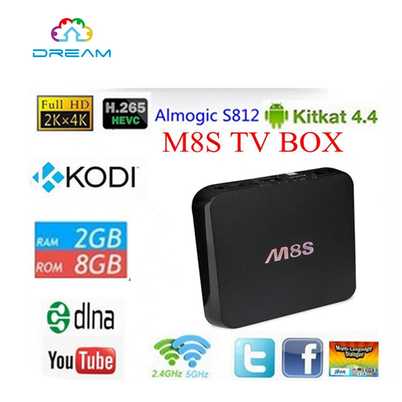Original M8S Android TV Box with Amlogic S812 Quad core 2.0GHz Dual Band Wifi CODI 4K HD Video H.265 m8 fully loaded xbmc amlogic s802 android tv box quad core 2g 8g mali450 4k 2 4g 5g dual wifi pre installed apk add ons