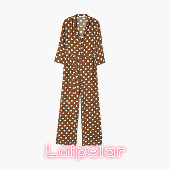 Brown polka dots jumpsuit women Sexy v neck sashes button summer romper Elegant casual high waist streetwear long overalls 2018 summer female sexy bodycon jumpsuit solid high waist romper casual bandage romper streetwear