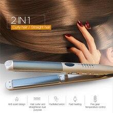 Fer à lisser 2 en 1 en titane, brosse à lisser pour cheveux ondulés, réglage de la température des cheveux