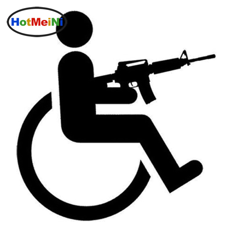 HotMeiNi 13x14cm Handicapped Wheelchair Gun Creative Vinyl Car-Styling Car Stickers Decals Black/Sliver