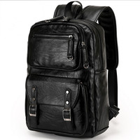 Men S Leather Backpack Waterproof Business Backpack Men Travel Knapsack 15 Inch Laptop Backpack Male Large