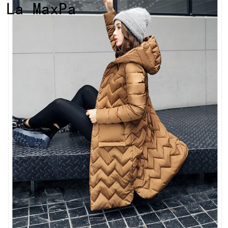 Abrigos mujer invierno 2017 New winter women's feather padded in the long thin Korean slim Hooded  Coat Jacket Chaquetas mujer new vogue abrigos mujer invierno nice coat women winter padded jacket cotton padded parka solid color hooded parkas tt1115